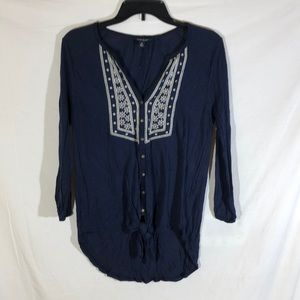 Lucky Brand Blue Button Up Hi-Lo 3/4 Sleeve Blouse